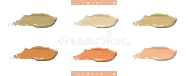 Kosmetisk vätskeunderlagskrämuppsättning i olika slaglängder för färgfläcksudd Sminksudd som isoleras på vit royaltyfri illustrationer