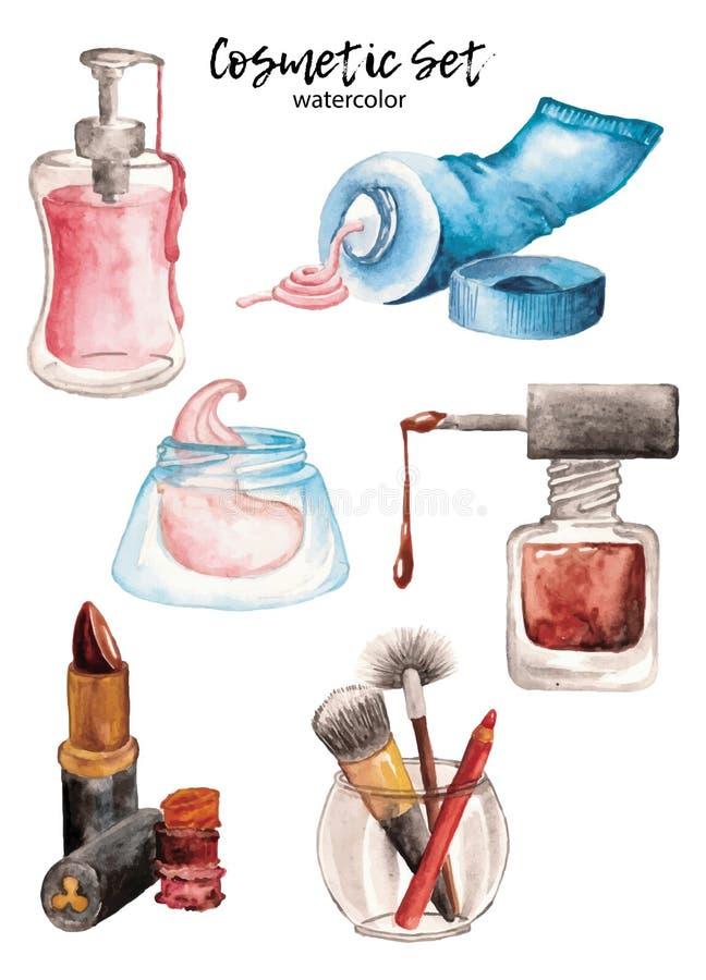 Kosmetisk vattenfärgkräm, brashes och spikar polermedelvektoruppsättningen stock illustrationer