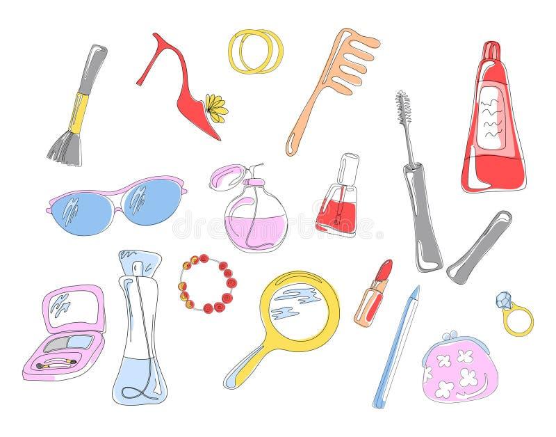 kosmetiska objekt vektor illustrationer