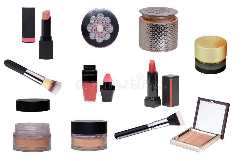 kosmetiska produkter Collageuppsättning eller samling av skönhetsmedel och skönhetsprodukter som isoleras på en vit bakgrund kvin royaltyfri fotografi