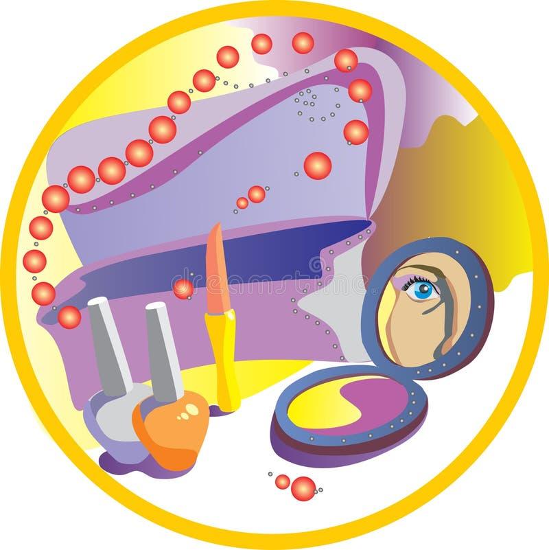 kosmetiska semesterkvinnor stock illustrationer