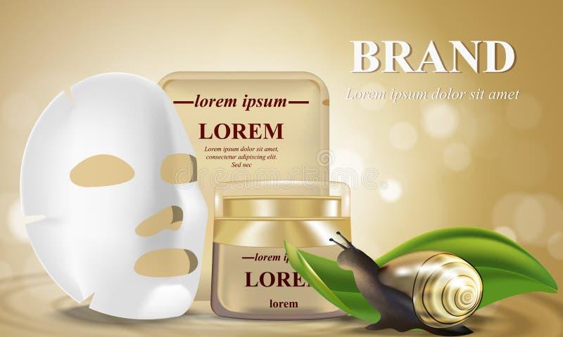 Kosmetiskt baner med realistiska flaskor 3d för skincarekräm, med den ansikts- kosmetiska maskeringen för vitt ark flaska av vatt royaltyfri illustrationer
