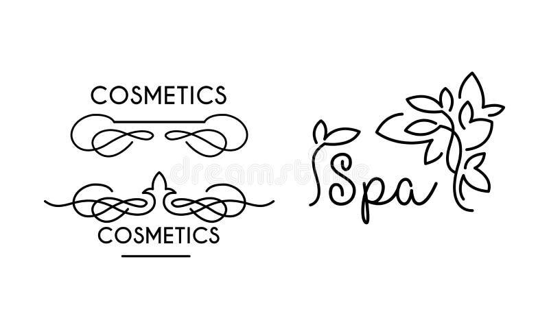 Kosmetiskt linjär logomall för brunnsort, symbol för brunnsortsalongen, organisk skönhetsmedelvektorillustration på en vit bakgru vektor illustrationer