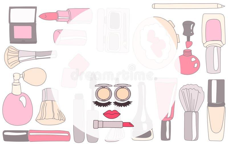 Kosmetiskt märke eller smink royaltyfri illustrationer