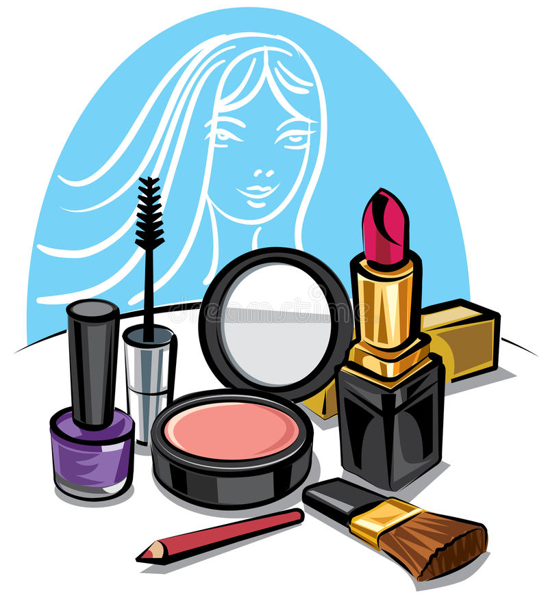 kosmetiskt satssmink vektor illustrationer