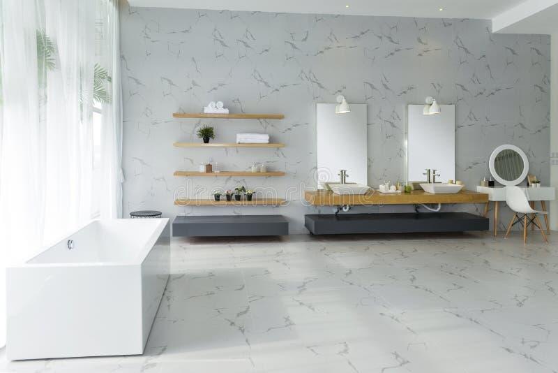 Kosmetiskt spegelbadkar för badrum royaltyfri fotografi