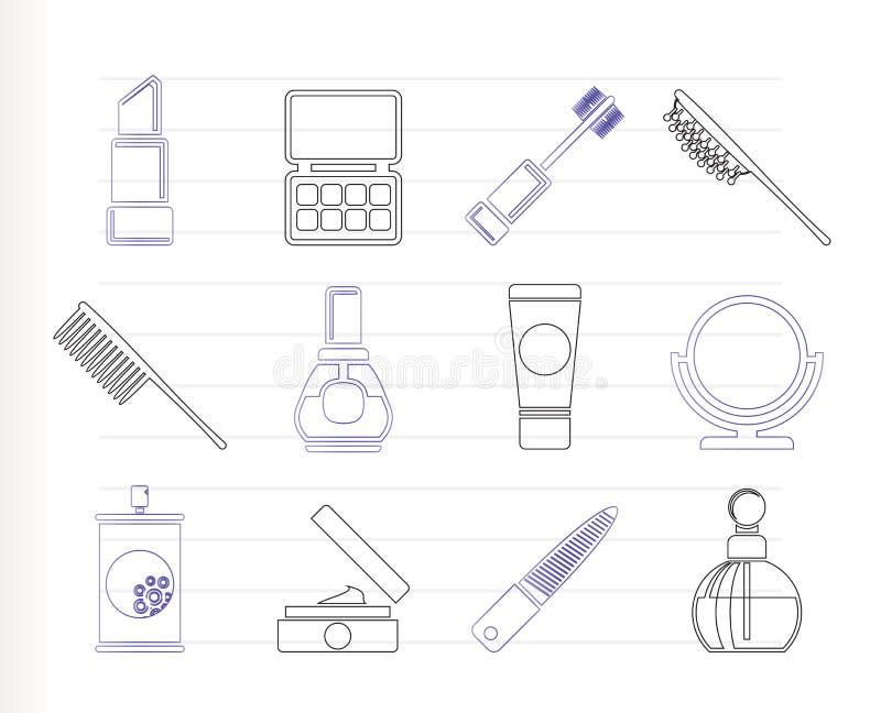 kosmetiskt symbolssmink för skönhet royaltyfri illustrationer