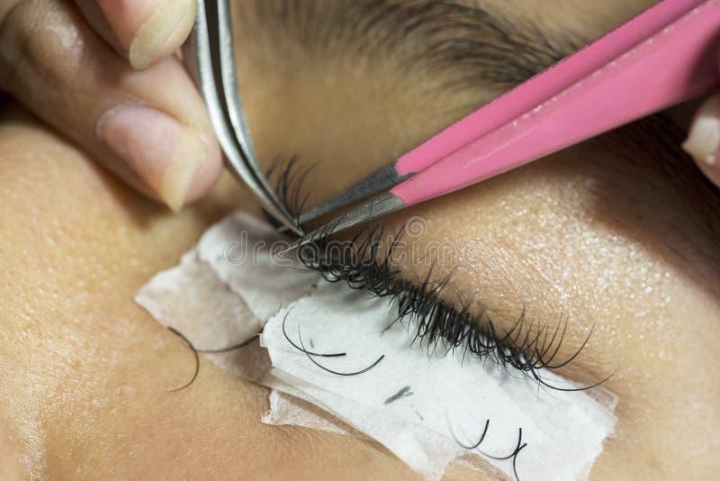 Kosmetolog som tar bort ögonfrans hennes patient fotografering för bildbyråer