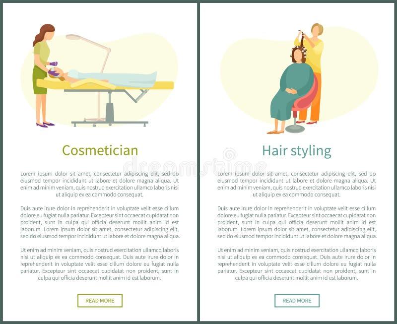 Kosmetologfrisör Cosmetic Procedures Vector stock illustrationer