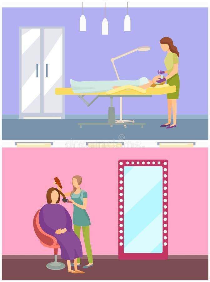 Kosmetyczki opieki Kosmetycznego traktowania Ustalony wektor ilustracja wektor