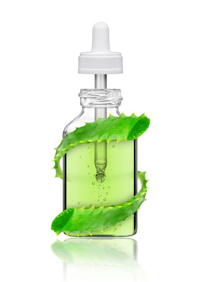 Kosmetyczna butelka z aloesu Vera rośliną, odosobnioną na bielu zdjęcie stock