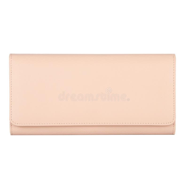 Kosmetyczna torebka textured światło - różowa sztuczna skóra obrazy stock