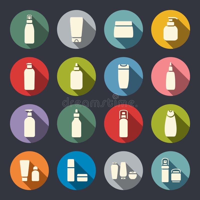 Kosmetyczne butelki mieszkania ikony ilustracja wektor