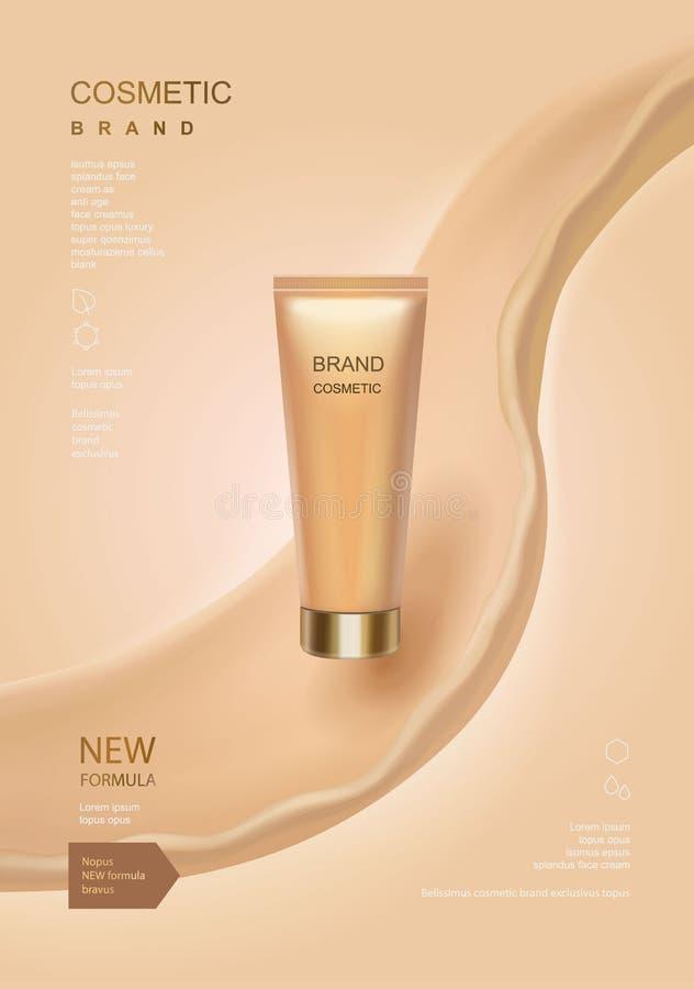 Kosmetyczne reklamy szablon, toner lub płukanki tubka z rzadkopłynnymi elementami na koloru skóry tle, royalty ilustracja
