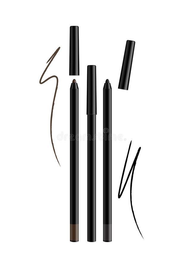 Kosmetycznego makijażu oka liniowa ołówków Ustalony wektor Odizolowywający na bielu royalty ilustracja