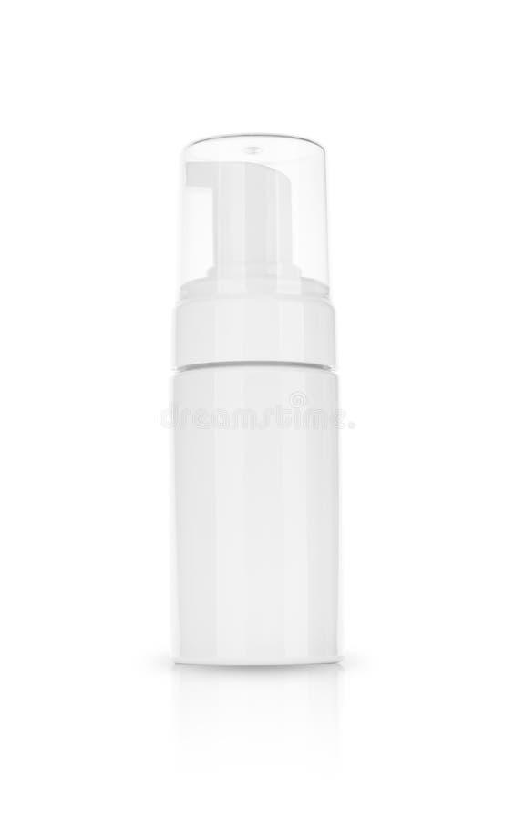 Kosmetyczny produkt dla śmietanki, piana, szampon Na białym tle obraz royalty free