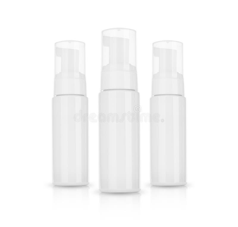 Kosmetyczny produkt dla śmietanki, piana, szampon Na białym tle fotografia royalty free