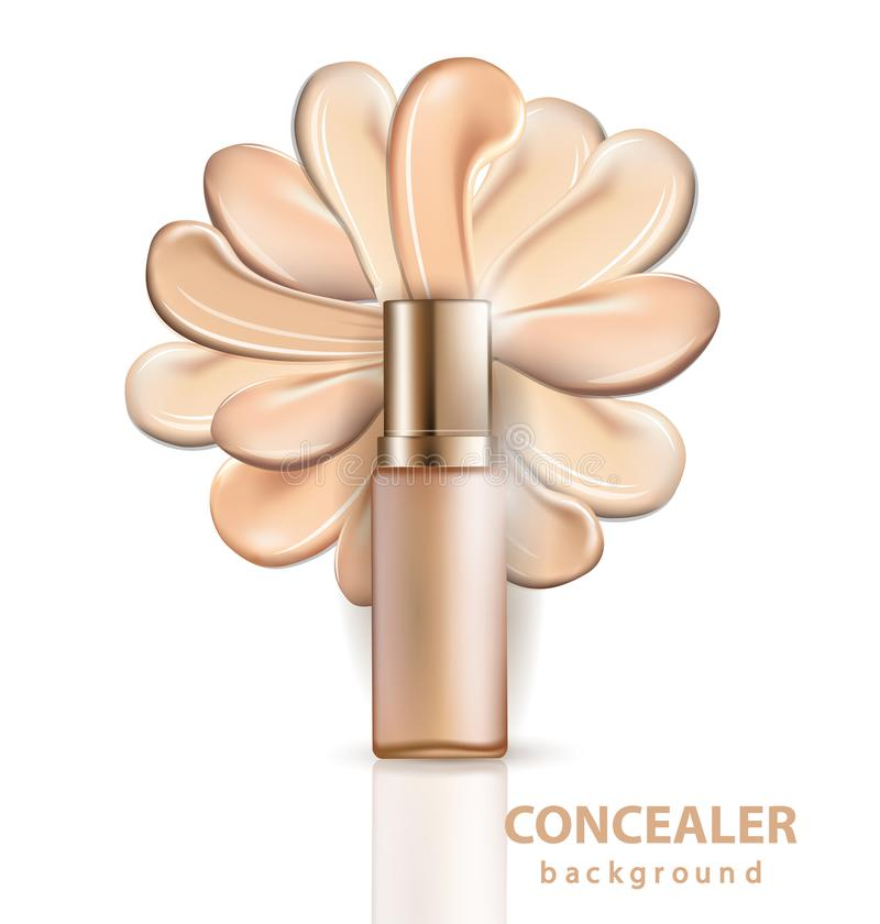 Kosmetyczny produkt, podstawa, concealer, śmietanka z rozmazów uderzeniami Szablonu wektor ilustracji