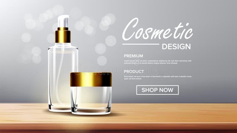 Kosmetyczny Szklany Pakuje wektor Twarzy opieka Woń, kolagen Butelka jard 3D Przejrzysty Realistyczny Mockup royalty ilustracja