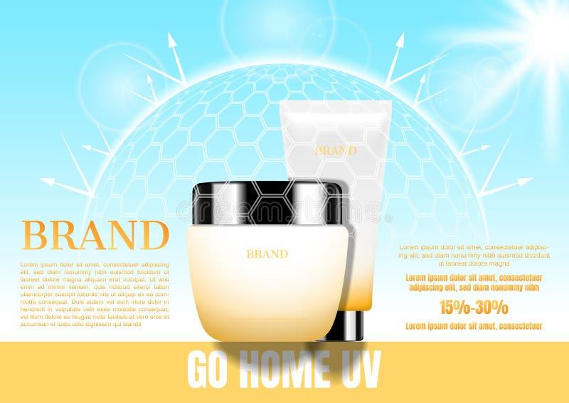 Kosmetyczny ustawiający z przejrzystą ulową barierą i światłem słonecznym Summ zdjęcie stock