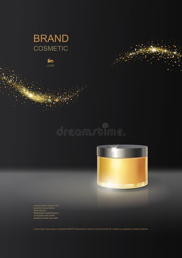 Kosmetycznych produkt plakatowych reklam butelki złocisty pakunek, skóry opieki moisturizer nawadnia luksusową twarzową śmietankę ilustracji