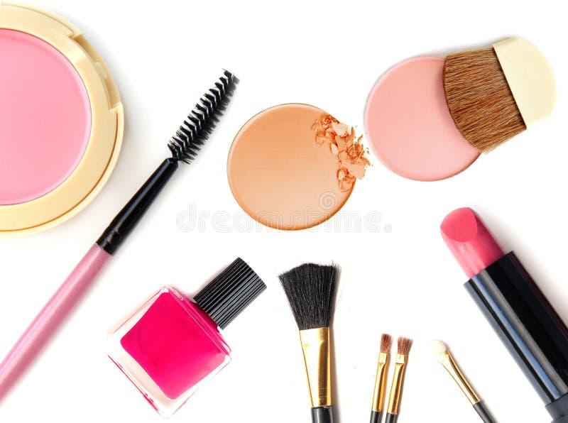 kosmetyków ostrości makeup selekcyjny Narzędzia dla profesjonalisty robią odgórnemu widokowi Na biały tle fotografia stock