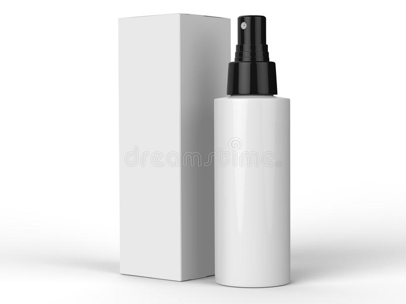 Kosmetyków zbiorniki, butelka z pakunkiem na kolorowym tle ilustracja 3 d ilustracja wektor