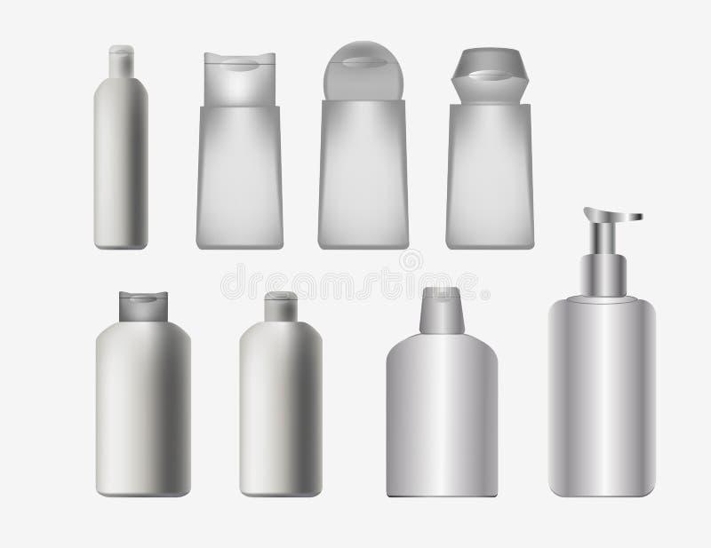 Kosmetyków zbiorniki, pakuje ilustracja wektor