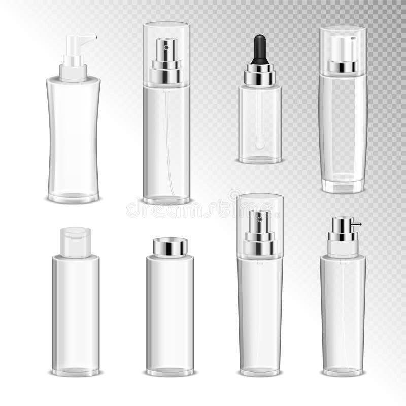 Kosmetyk butelek Przejrzysty set royalty ilustracja