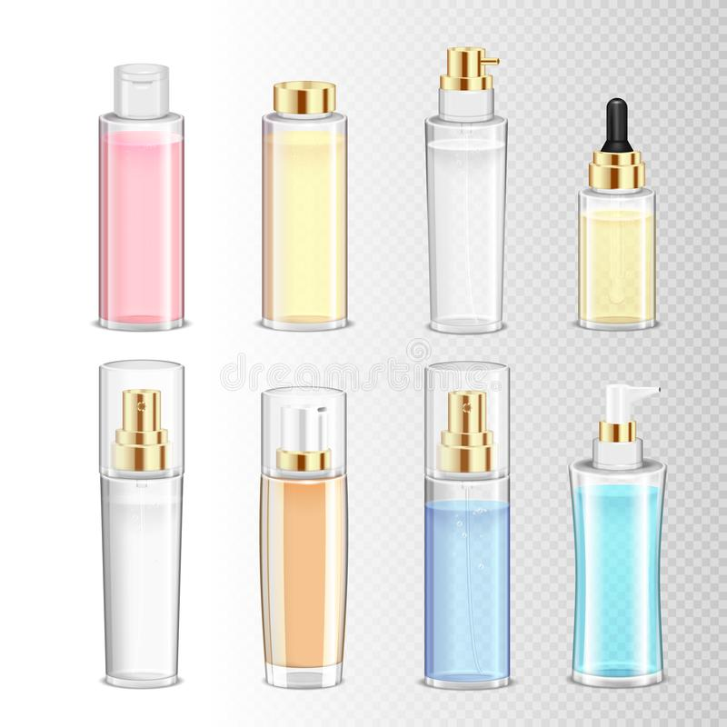 Kosmetyk butelek Realistyczny set ilustracja wektor