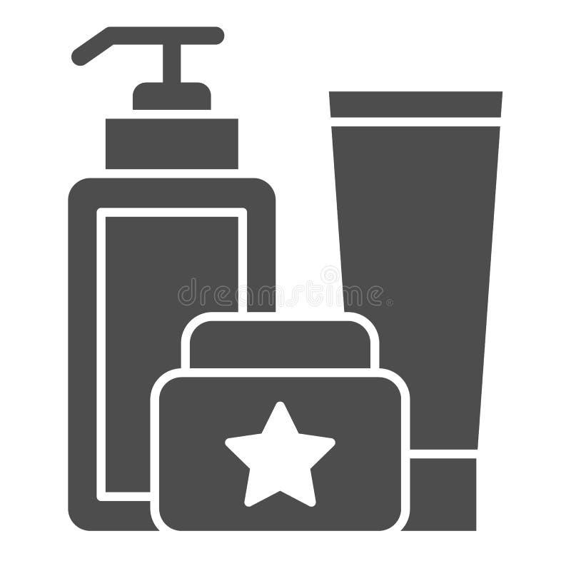 Kosmetyk butelkuje stałą ikonę Kremowego zestawu wektorowa ilustracja odizolowywająca na bielu Kosmetyczny tubka zestawu glifu st ilustracja wektor
