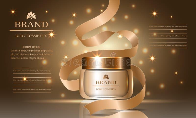 Kosmetyk serie, reklamy premia kolagen oliwią śmietankę dla skóry opieki i faborku, szablon dla projektów sztandarów, wektorowa i royalty ilustracja