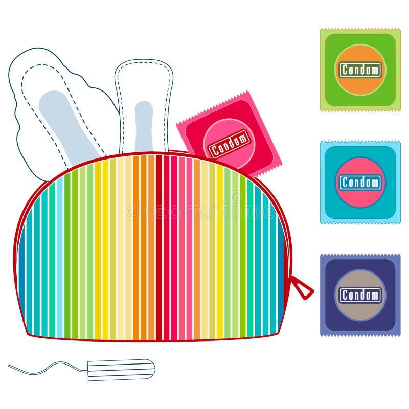 Kosmetyk, uzupełniał kolorową torbę z miesiączka sanitarnymi ochraniaczami, tampony, kondomy Higieny ochrona dla kobieta krytyczn ilustracja wektor