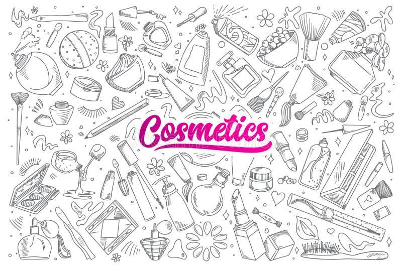 Kosmetyka doodle ustawiający z literowaniem ilustracji