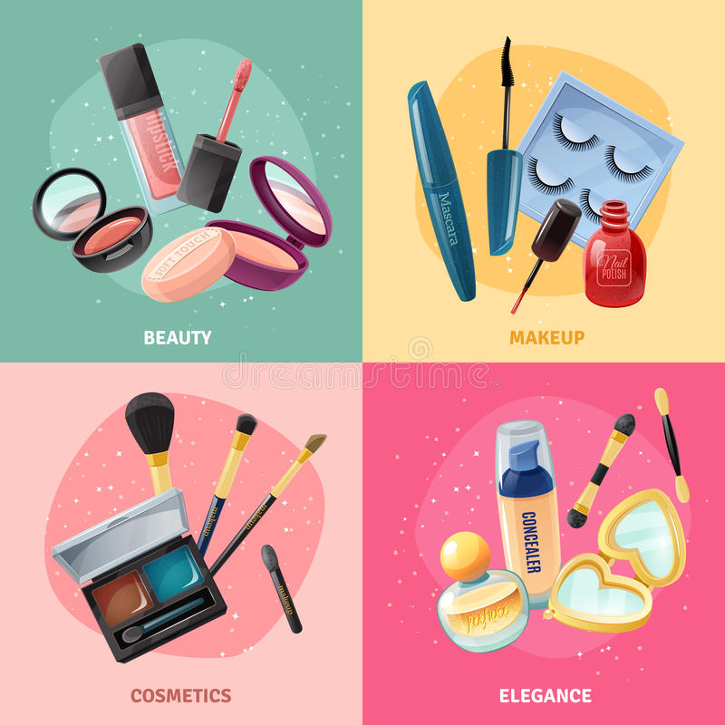 Kosmetyka Makeup pojęcia 4 ikon kwadrat royalty ilustracja