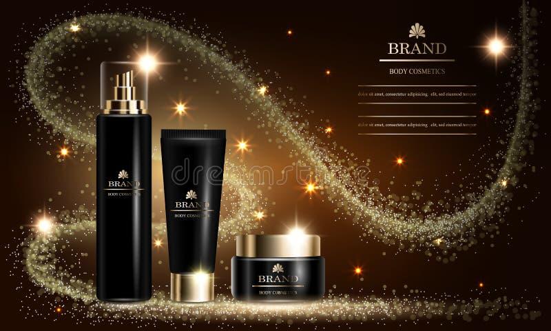 Kosmetyka piękna serie, mockup, reklamy dla premii rozpylają śmietankę dla skóry opieki również zwrócić corel ilustracji wektora royalty ilustracja
