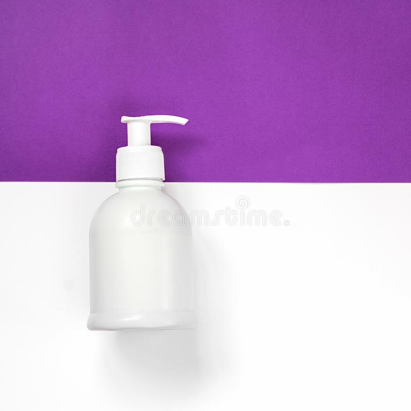 Kosmetyki, aptekarka, butelka, tło, biel, ultrafioletowy, obraz stock