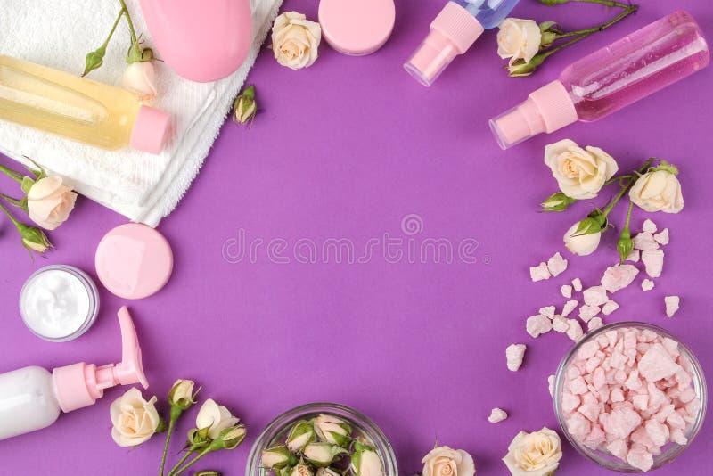Kosmetyki dla twarzy i ciała w menchii butelkach z świeżymi różami na jaskrawym purpurowym tle śmietanka, płukanka, morze sól i m obraz stock