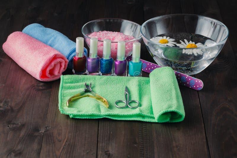 Kosmetyki i akcesoria dla manicure'u lub pedicure'u zdjęcia royalty free