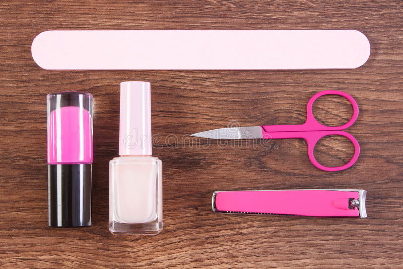 Kosmetyki i akcesoria dla manicure'u lub pedicure'u, pojęcie gwóźdź opieka zdjęcia royalty free