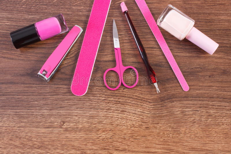 Kosmetyki i akcesoria dla manicure'u lub pedicure'u, pojęcie gwóźdź opieka obrazy royalty free