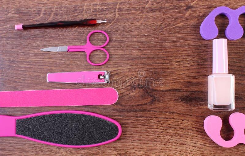 Kosmetyki i akcesoria dla manicure'u lub pedicure'u, pojęcie stopa, zdjęcie royalty free