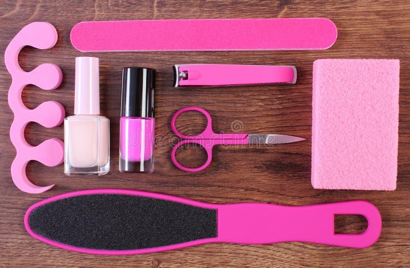 Kosmetyki i akcesoria dla manicure'u, pedicure, pojęcie stopa, ręka lub gwóźdź, dbają obraz royalty free