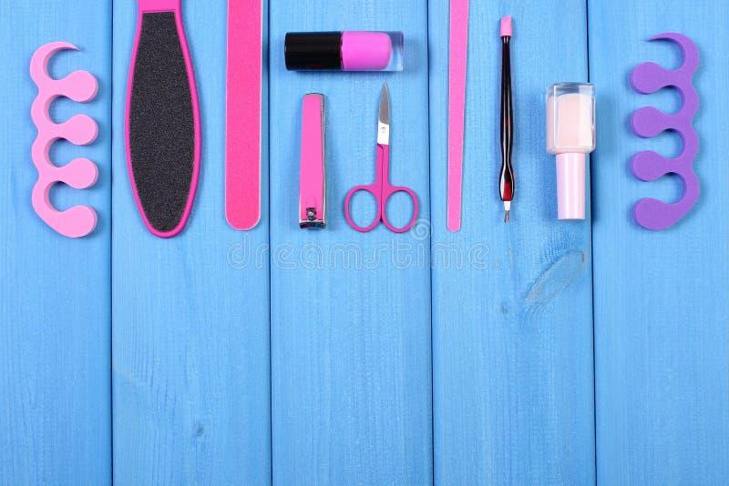Kosmetyki i akcesoria dla manicure'u, pedicure, pojęcie stopa, ręka lub gwóźdź, dbają, kopiują, przestrzeń dla teksta obraz stock