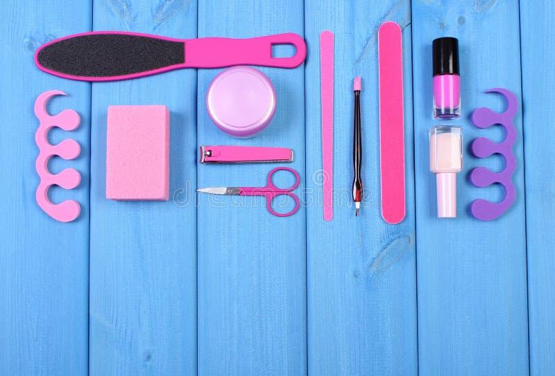 Kosmetyki i akcesoria dla manicure'u, pedicure, pojęcie stopa, ręka lub gwóźdź, dbają, kopiują, przestrzeń dla teksta obrazy stock