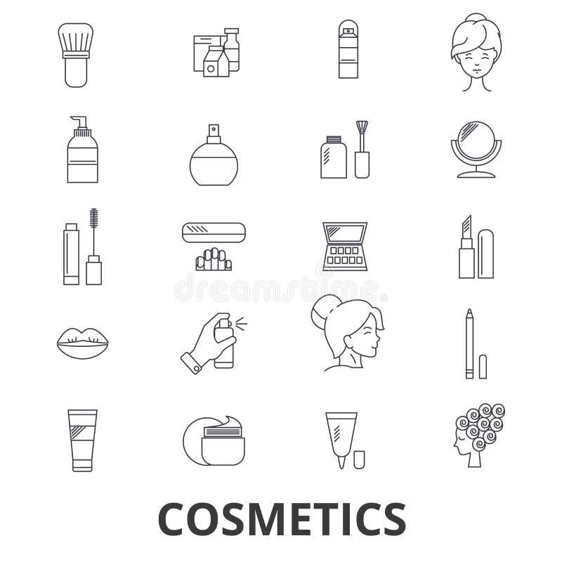 Kosmetyki, piękno, makeup, pomadka, pachnidło, kosmetyczna butelka, śmietanka, linii produktowa ikony Editable uderzenia Płaski p ilustracja wektor