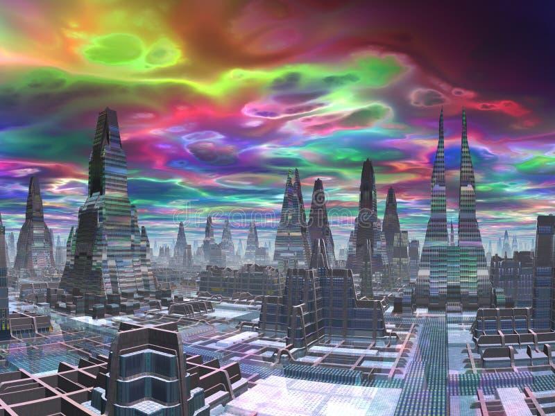 Kosmische Dämmerung über futuristischer Stadt lizenzfreie abbildung