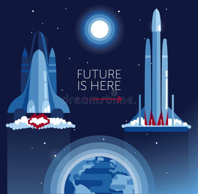 Kosmische Fahne für Raum tranport Entwicklung mit der Raumfähre und Falken schwer stock abbildung
