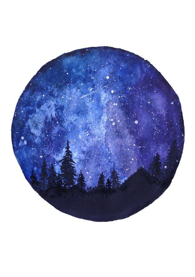 Kosmische hemel met sterren, hand-drawn waterverfillustratie stock afbeelding