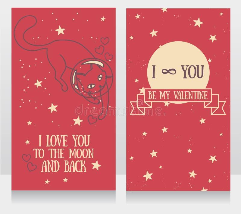 Kosmische kaarten voor liefde met krabbel kat-astronaut en sterrenachtergrond vector illustratie